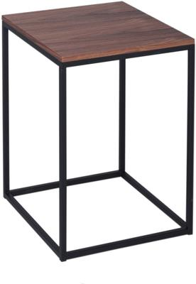 Kensal Square Side Table Walnut Top with Polished Steel Base image 2