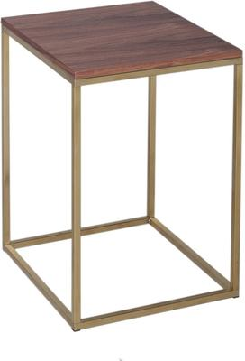 Kensal Square Side Table Walnut Top with Polished Steel Base image 3