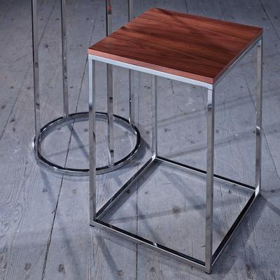 Kensal Square Side Table Walnut Top with Polished Steel Base image 4