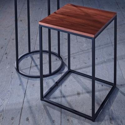 Kensal Square Side Table Walnut Top with Polished Steel Base image 5
