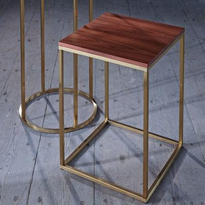 Kensal Square Side Table Walnut Top with Polished Steel Base image 6