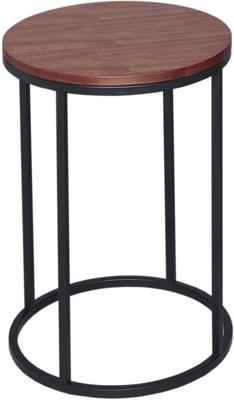 Circular Side Table with Walnut Top and Steel Base - Kensal range image 2