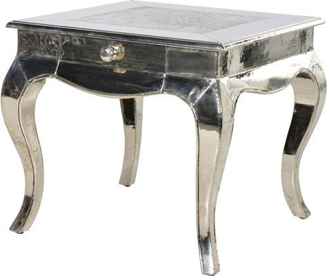 Beaten Metal Plate Side Table Shiny Silver French Design