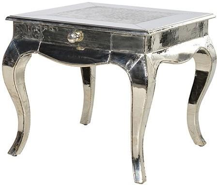 Beaten Metal Plate Side Table Shiny Silver French Design image 2