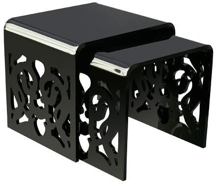 Acrylic Lace Nested Tables in Black or White image 2