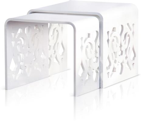 Acrylic Lace Nested Tables in Black or White image 3