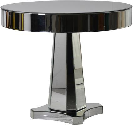 Round Mirrored Side Table Chunky Art Deco Design