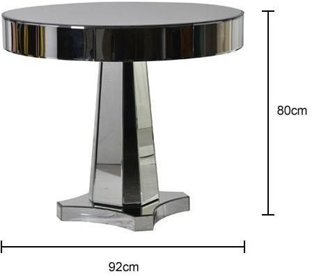 Round Mirrored Side Table Chunky Art Deco Design image 2