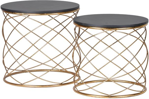 Pair of Round Side Tables with Spiral Metal