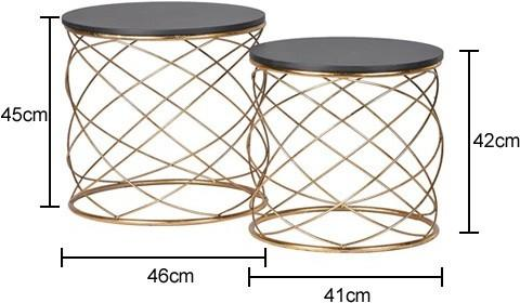 Pair of Round Side Tables with Spiral Metal image 2