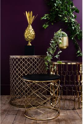 Pair of Round Side Tables with Spiral Metal image 3
