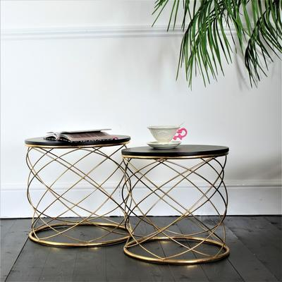 Pair Of Round Side Tables With Spiral Metal Side Tables