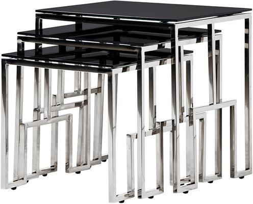 Black Glass Top Nesting Tables Metal Frame
