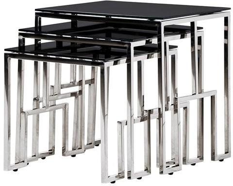 Black Glass Top Nesting Tables Metal Frame image 2