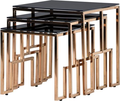Black Glass Top Nesting Tables Metal Frame image 3