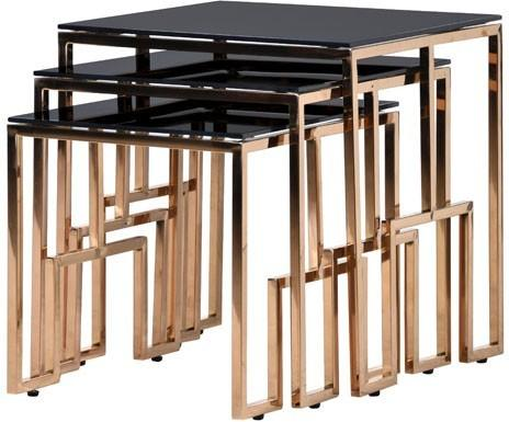 Black Glass Top Nesting Tables Metal Frame image 4