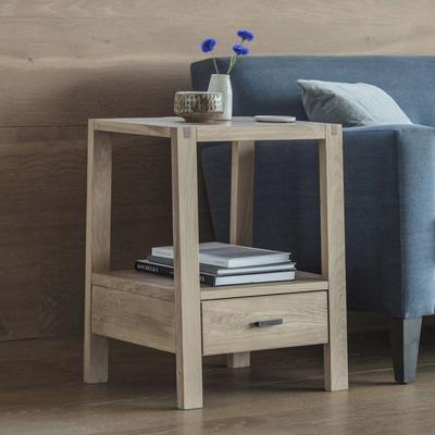 Kielder Simple Wooden Oak Bedside Table 1 Drawer image 2