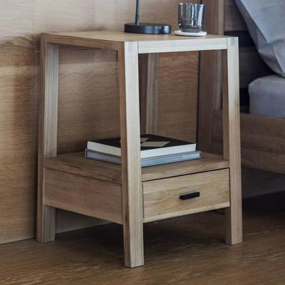 Kielder Simple Wooden Oak Bedside Table 1 Drawer image 4
