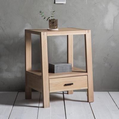 Kielder Simple Wooden Oak Bedside Table 1 Drawer image 7
