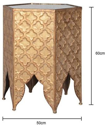 Hexagonal Ethnic Side Table Distressed Metal image 2