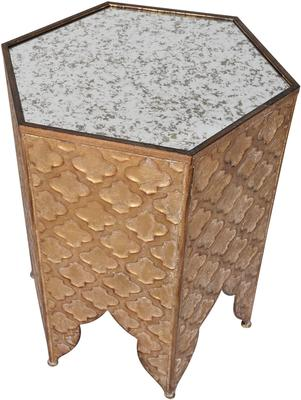 Hexagonal Ethnic Side Table Distressed Metal image 3