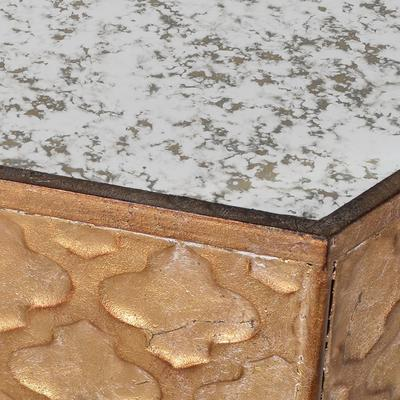 Hexagonal Ethnic Side Table Distressed Metal image 4