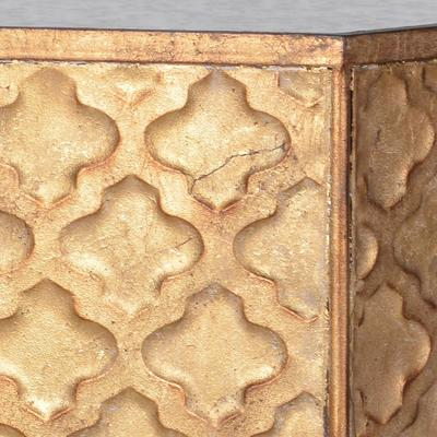 Hexagonal Ethnic Side Table Distressed Metal image 5