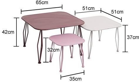 3 x Distressed Square Metal Side Tables image 2