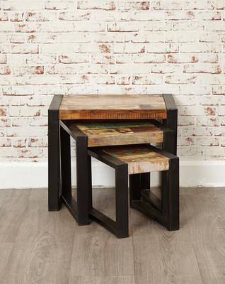 Shoreditch Rustic Nest of 3 Tables Reclaimed Wood image 5