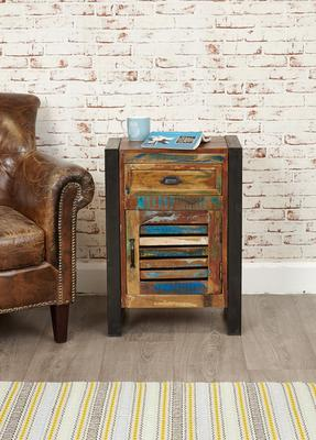 Shoreditch Rustic Lamp Table One Drawer Cupboard