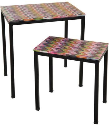 Pair of Bone Inlay Side Tables Ethnic Decor with Iron Legs