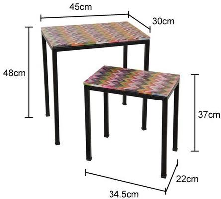 Pair of Bone Inlay Side Tables Ethnic Decor with Iron Legs image 2