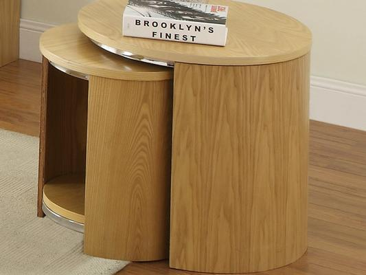 Jual Modern Nest of Tables with Wooden Top - Walnut or Oak image 2