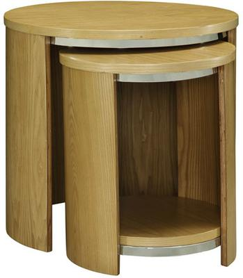 Jual Modern Nest of Tables with Wooden Top - Walnut or Oak image 3
