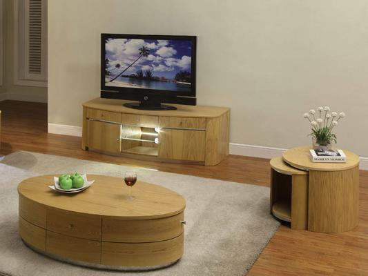 Jual Modern Nest of Tables with Wooden Top JF306 - Walnut or Oak image 5