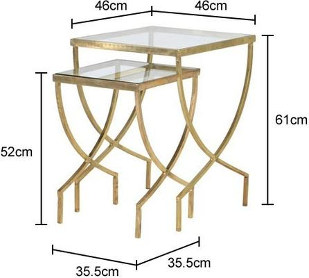 Nesting Greek Curve Side Tables Metal and Glass image 2
