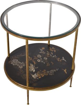 Gold Leaf Side Table with Picture Shelf
