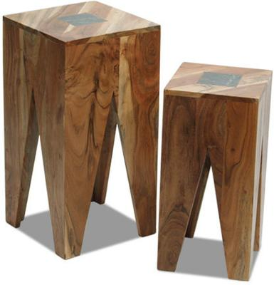 Rustic Hardwood Nest of 2 Tables