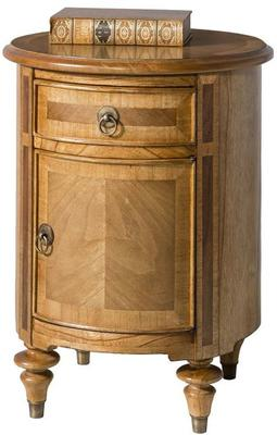 Spire Antiqued Wood Drum Table 1 Drawer 1 Door