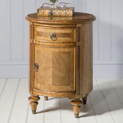 Spire Antiqued Wood Drum Table 1 Drawer 1 Door image 2
