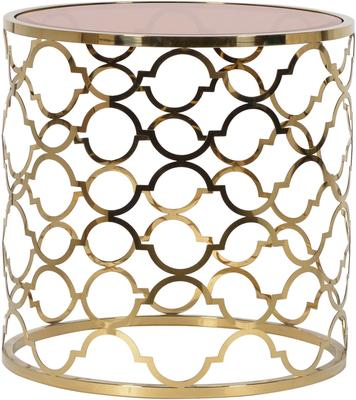 Ethnic Side Table with Brown Glass Top