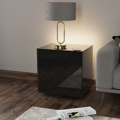 High Gloss Black Lamp Table with Wireless Phone Charger image 3