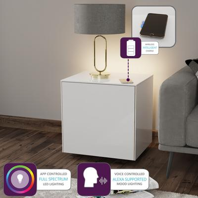 High Gloss White Lamp Table with Wireless Phone Charger image 2