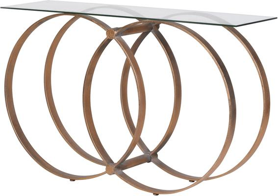 Four Hoop Console Table Metal Glass