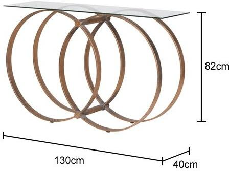 Four Hoop Console Table Metal Glass image 2