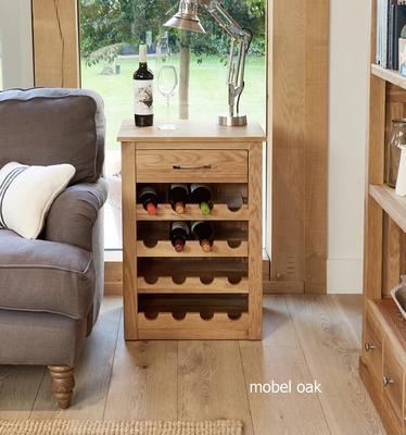 Mobel Oak Wine Rack Lamp Table One Drawer