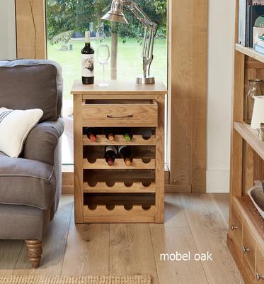 Mobel Oak Wine Rack Lamp Table One Drawer image 2