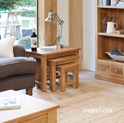Mobel Oak Nest of 3 Tables Modern Design