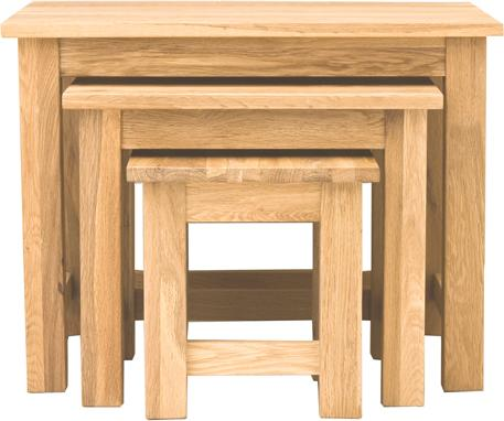 Mobel Oak Nest of 3 Tables Modern Design image 3