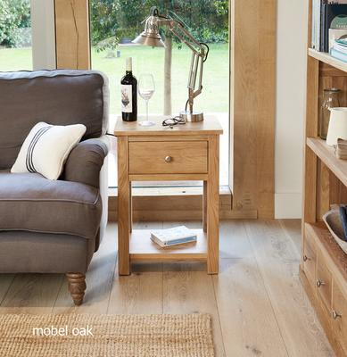 Mobel Oak One Drawer Lamp Table One Drawer